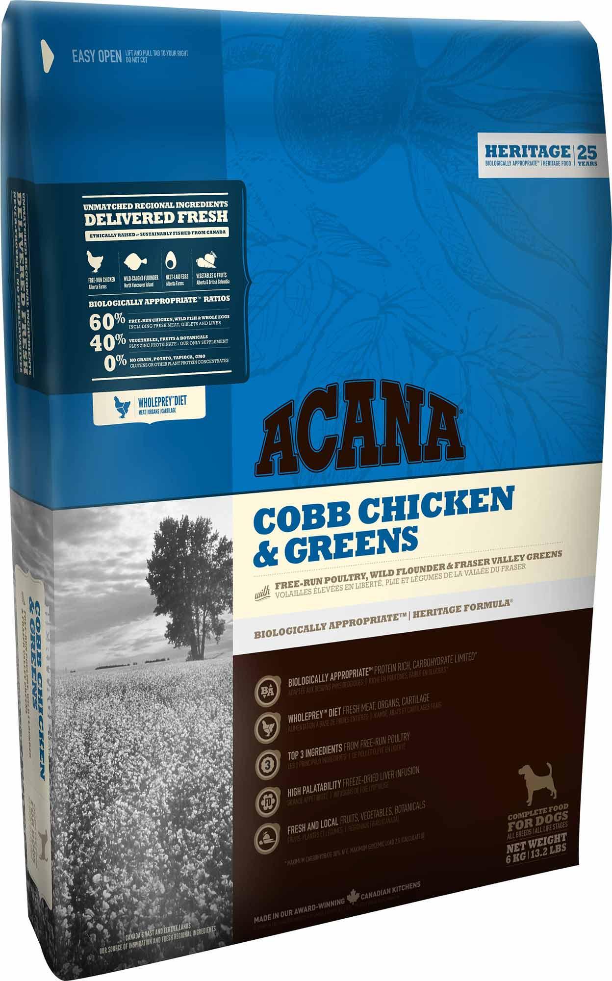 Hrana Acana Caini Heritage Cobb Chicken and Greens